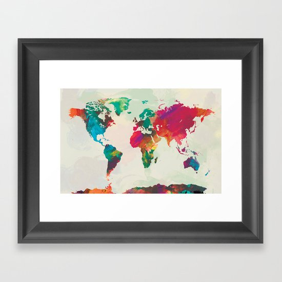 Watercolor world map framed art print by pazwaz society6 for World map wall print