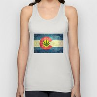 Retro Colorado State flag with the leaf - Marijuana leaf that is! Unisex Tank Top