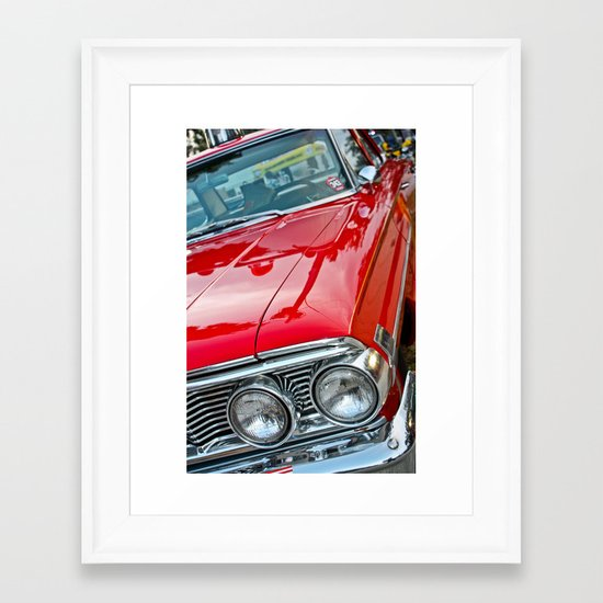 Red Ford Custom 500 Galaxie Police Car Framed Art Print