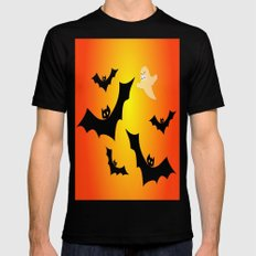 Bats and a Ghost SMALL Mens Fitted Tee Black