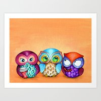 Autumn Owl Trio Art Print