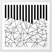 Abstract Outline Stripes Black and White Art Print