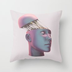 Blue People Throw Pillow