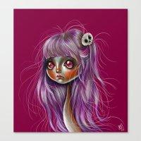 Little Skull Girl Illustration Canvas Print