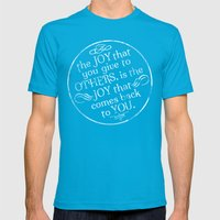 Give Joy  Mens Fitted Tee Teal SMALL