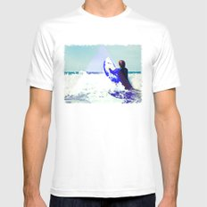 Surfing Devon Mens Fitted Tee SMALL White