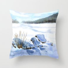 A Winter Study In Blues Throw Pillow