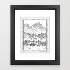 SNOWED IN PEN DRAWING Framed Art Print