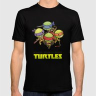 Kawaii Mutant Ninja Turt… Mens Fitted Tee Black SMALL
