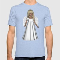 Little Winter Angel Mens Fitted Tee Tri-Blue SMALL