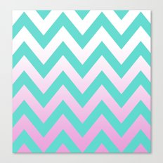 TEAL CHEVRON PINK FADE Canvas Print