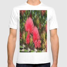 Wild fluffy red flowers Mens Fitted Tee White SMALL