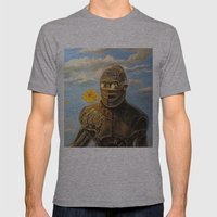 Robot & Flower Mens Fitted Tee Athletic Grey SMALL