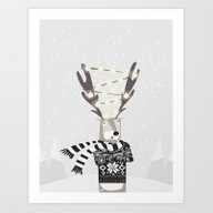 Christmas Bright Reindee… Art Print
