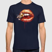 Kiss Me Mens Fitted Tee Navy SMALL
