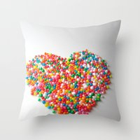 Colorful Heart Throw Pillow