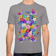 Cute Colourful Flowers Mens Fitted Tee Tri-Grey SMALL