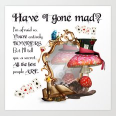 Alice In Wonderland, Mad hatter Bonkers Art Print