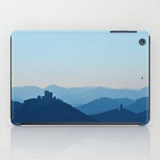 Castle in blue misty mountains iPad Case