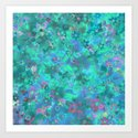 Floral pattern - blue Art Print