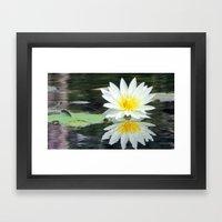 White Pond Flower Framed Art Print
