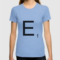 Scrabble E Womens Fitted Tee Athletic Blue SMALL