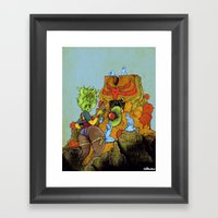 Feeding A Totem With Psychic Orb Framed Art Print
