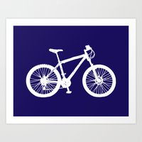 Mountain Bike Navy Blue Art Print