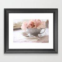 Little Gray Teacup Framed Art Print