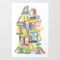 Book Stack Art Print