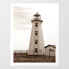 North Cape Lighthouse Sepia Art Print