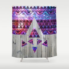 Space Trip | Modern Pink Aztec Nebula Triangles On Vintage Wood Shower Curtain