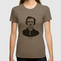 Edgar A. Poe Womens Fitted Tee Tri-Coffee SMALL