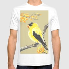 Yellow Finch White SMALL Mens Fitted Tee
