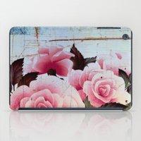 pink rose on old tile iPad Case