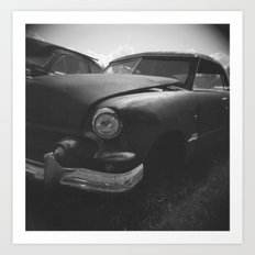 B&W Rusty Car Art Print