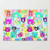 The Rocking Rainbow Cats Canvas Print