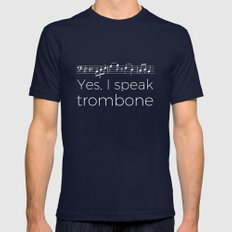 Yes, I speak trombone Mens Fitted Tee Navy SMALL