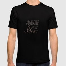 Adventure is Waiting  Black SMALL Mens Fitted Tee