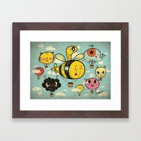 Happy Flight / The Animals Hot Air Balloon Voyagers / Patterns / Clouds Framed Art Print