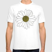 Daisy Yellow Mens Fitted Tee White SMALL