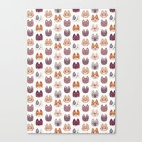 Cute Kitty Cat Faces Pattern Canvas Print
