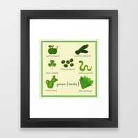Colors: green (Los colores: verde) Framed Art Print