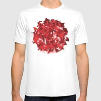 Abstract Red Mens Fitted Tee White SMALL