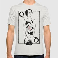 Queen Of Hearts Mens Fitted Tee Silver SMALL