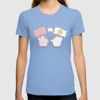 Breakfast Womens Fitted Tee Tri-Blue SMALL