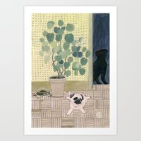 Pug Puppy Playing Art Print