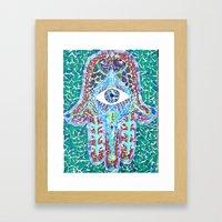 hamsa - glass Framed Art Print