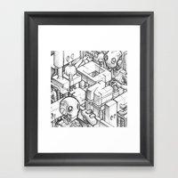 Robots Playing Sketch Framed Art Print