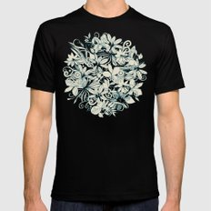 Denim flower circle SMALL Mens Fitted Tee Black